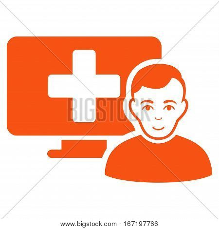 Online Medicine vector icon. Flat orange symbol. Pictogram is isolated on a white background. Designed for web and software interfaces.