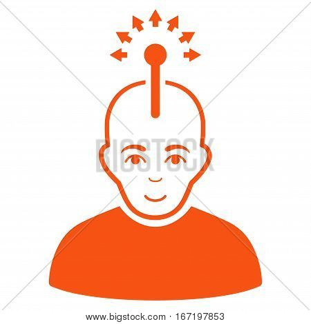 Optical Neural Interface vector icon. Flat orange symbol. Pictogram is isolated on a white background. Designed for web and software interfaces.