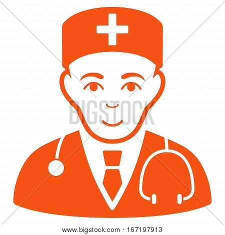 Physician vector icon. Flat orange symbol. Pictogram is isolated on a white background. Designed for web and software interfaces.