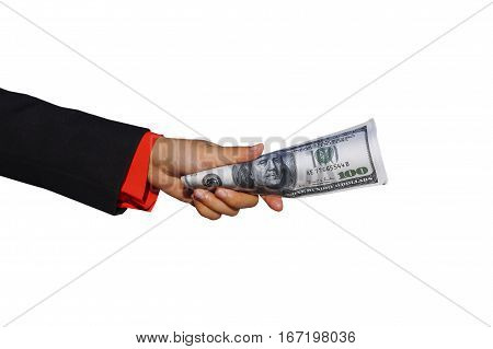 Male hand holding a wad of money.