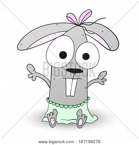 Rabbit bunny baby character vector illustration pink green. can be used for kid s or baby s shirt design fashion print design fashion graphic t-shirt kids wear.