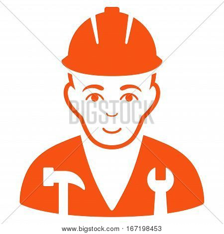 Serviceman vector icon. Flat orange symbol. Pictogram is isolated on a white background. Designed for web and software interfaces.