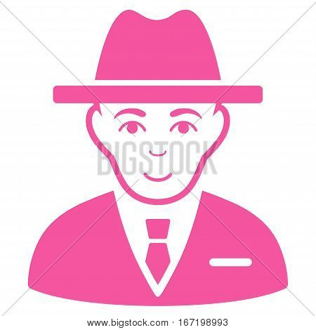 Agent vector icon. Flat pink symbol. Pictogram is isolated on a white background. Designed for web and software interfaces.