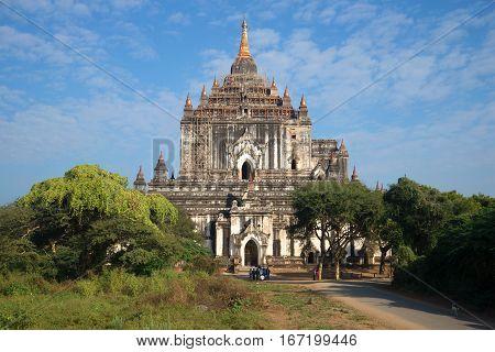 BAGAN, MYANMAR - DECEMBER 23, 2016: Thatbyinnyu  pagoda is the highest Buddhist temple Old Bagan