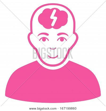 Clever Boy vector icon. Flat pink symbol. Pictogram is isolated on a white background. Designed for web and software interfaces.