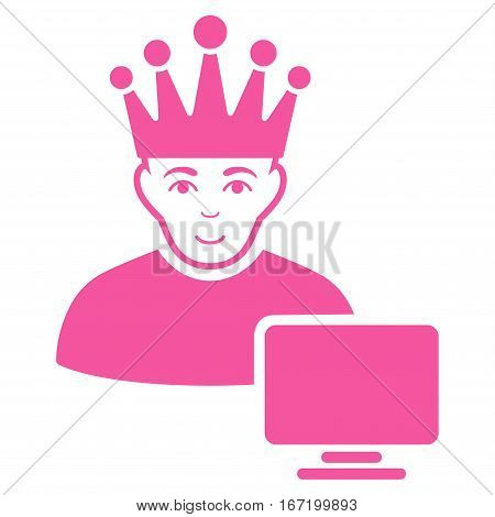 Computer Moderator vector icon. Flat pink symbol. Pictogram is isolated on a white background. Designed for web and software interfaces.