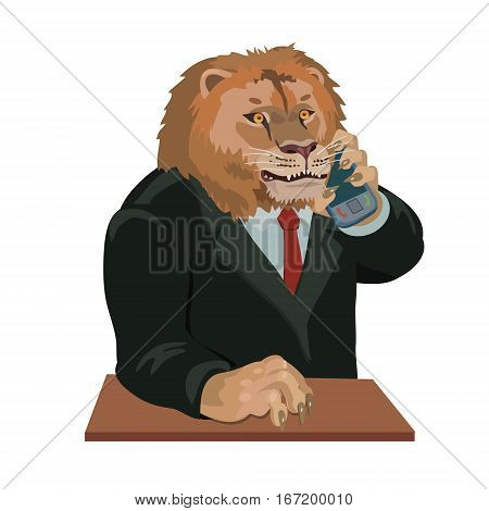 Lion talking on a cell phone you can make a screensaver on a mobile phone who is calling you on your taste and interest