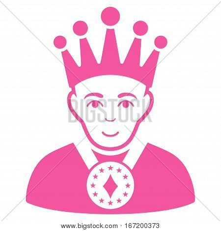 King vector icon. Flat pink symbol. Pictogram is isolated on a white background. Designed for web and software interfaces.