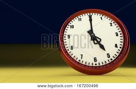 five o'clock big clock rush watch yellow background 3D illustration