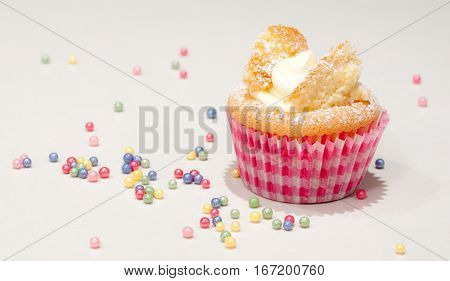 Cupcake fairy cake in red and pink paper cup with colourful colorful decorations on white background