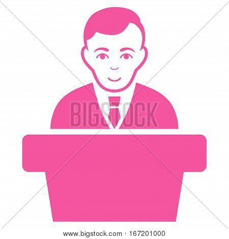 Politician vector icon. Flat pink symbol. Pictogram is isolated on a white background. Designed for web and software interfaces.