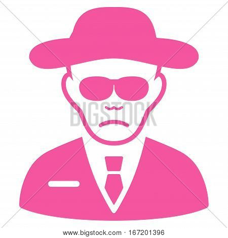 Security Agent vector icon. Flat pink symbol. Pictogram is isolated on a white background. Designed for web and software interfaces.