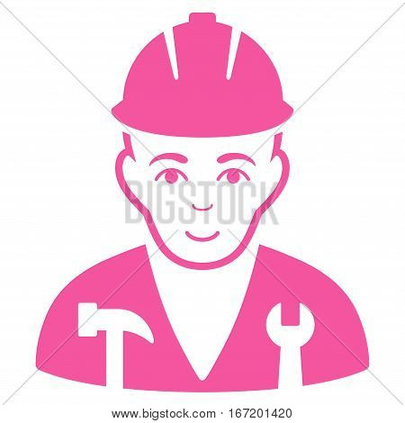 Serviceman vector icon. Flat pink symbol. Pictogram is isolated on a white background. Designed for web and software interfaces.