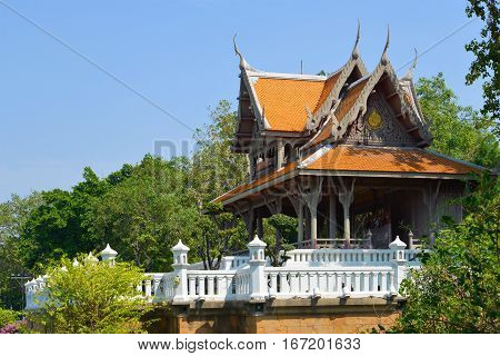 The ancient Buddhist temple in the city park Santi Chuai Prakan. Bangkok, Thailand