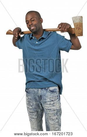 Handsome young man holding an wooden handled axe