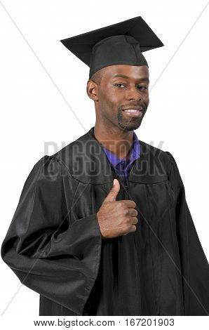 Young black African American man in his graduation robes