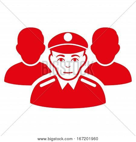 Army Team vector icon. Flat red symbol. Pictogram is isolated on a white background. Designed for web and software interfaces.