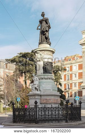 Madrid, Spain - January 26, 2017: A monument to queen Maria Christina of the Two Sicilies , also known as Maria Cristina de Borbon