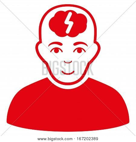 Clever Boy vector icon. Flat red symbol. Pictogram is isolated on a white background. Designed for web and software interfaces.