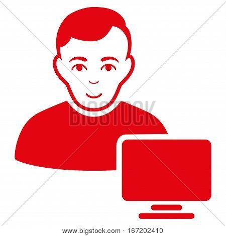 Computer Administrator vector icon. Flat red symbol. Pictogram is isolated on a white background. Designed for web and software interfaces.
