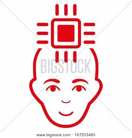 Neural Computer Interface vector icon. Flat red symbol. Pictogram is isolated on a white background. Designed for web and software interfaces.