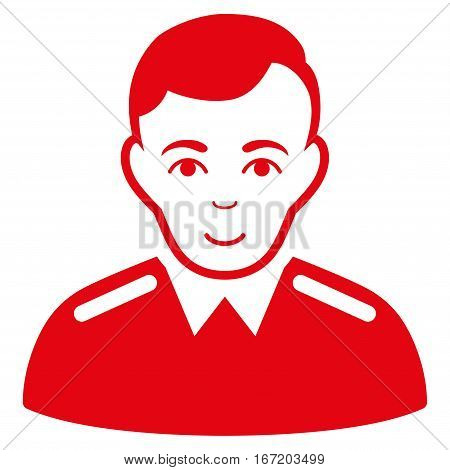 Officer vector icon. Flat red symbol. Pictogram is isolated on a white background. Designed for web and software interfaces.