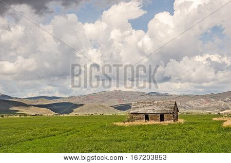 Abandoned building on a farm or ranch in western USA