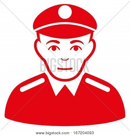 Soldier vector icon. Flat red symbol. Pictogram is isolated on a white background. Designed for web and software interfaces.