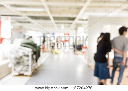Modern Shopping Mall Blurred Store Background