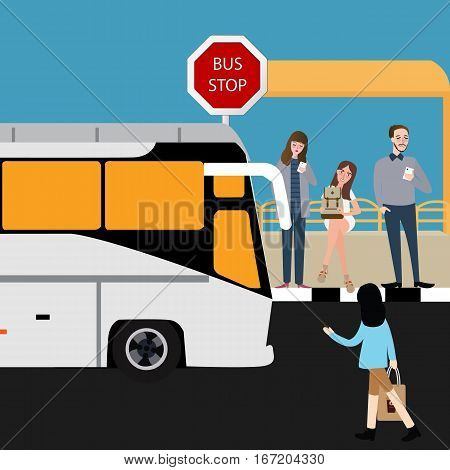 bus stop people waiting inline travel city public transportation vector