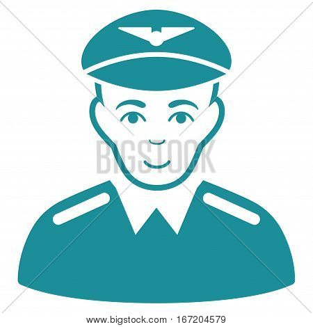 Aviator vector icon. Flat soft blue symbol. Pictogram is isolated on a white background. Designed for web and software interfaces.