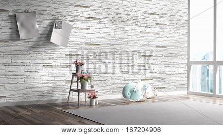 Beautiful modern interior with toys. 3D rendering