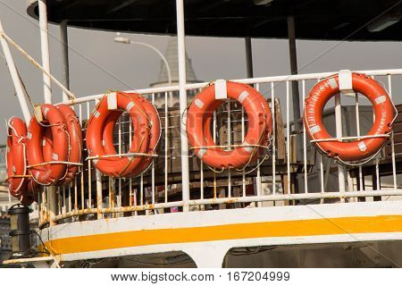 Set of life preservers attached to passenger ship