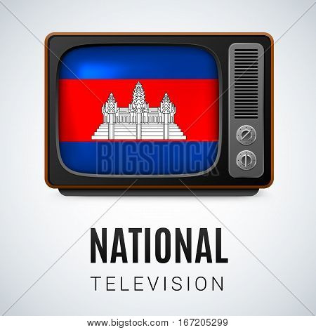 Vintage TV and Flag of Cambodia as Symbol National Television. Button with Cambodian flag