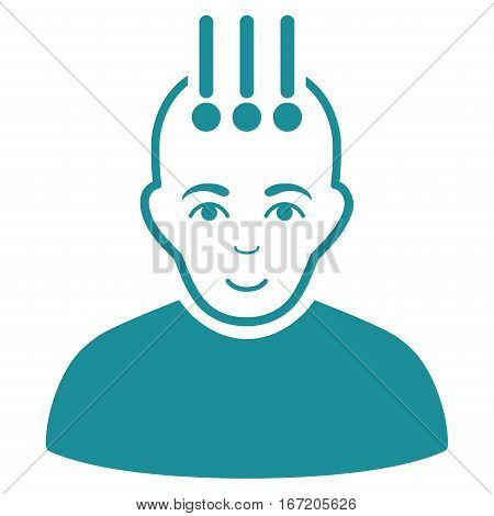 Neural Interface vector icon. Flat soft blue symbol. Pictogram is isolated on a white background. Designed for web and software interfaces.