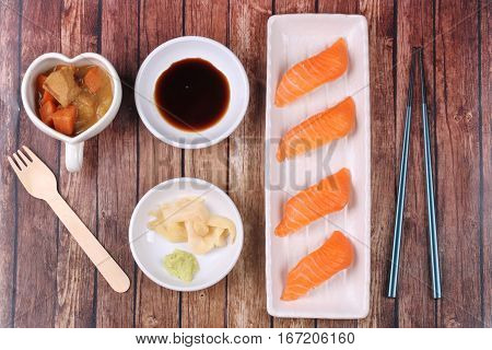 Salmon Sushi And Side Dish Served With Japanese Yellow Curry.