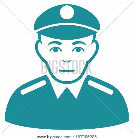 Soldier vector icon. Flat soft blue symbol. Pictogram is isolated on a white background. Designed for web and software interfaces.