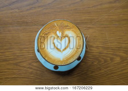 Love Latte Art Coffee On Wooden Table