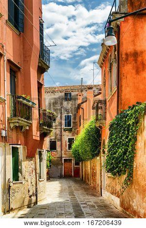 Facades Of Old Houses On Calle Gradisca Cannaregio, Venice