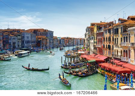 Beautiful View Of The Grand Canal From The Rialto Bridge. Venice