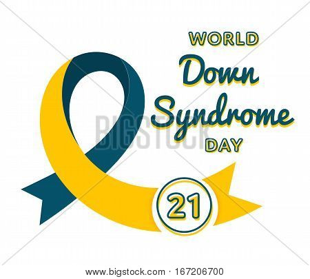 World Down Syndrome day emblem isolated raster illustration on white background. 21 march world healthcare holiday event label, greeting card decoration graphic element