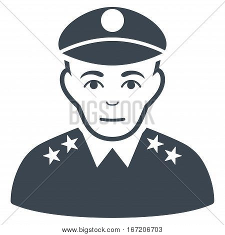 Army General vector icon. Flat smooth blue symbol. Pictogram is isolated on a white background. Designed for web and software interfaces.