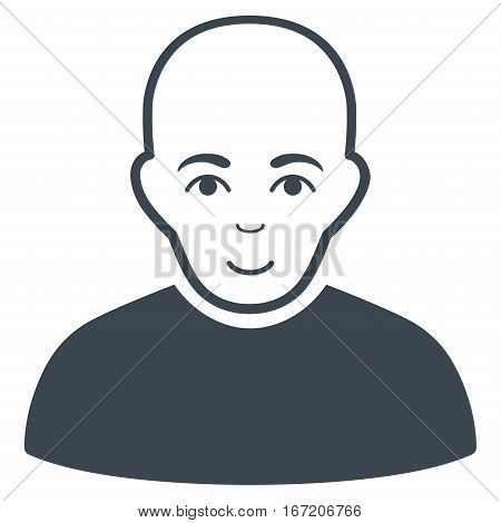 Bald Man vector icon. Flat smooth blue symbol. Pictogram is isolated on a white background. Designed for web and software interfaces.