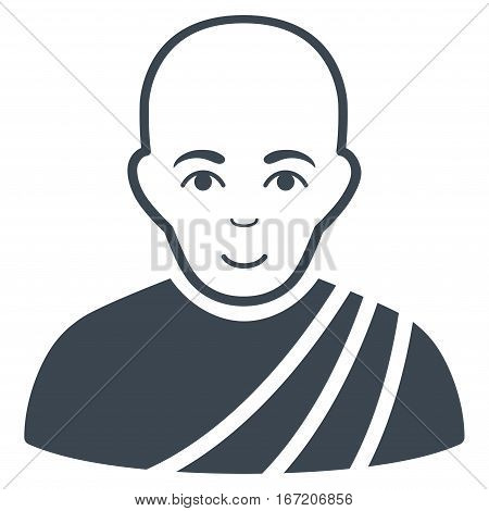 Buddhist Monk vector icon. Flat smooth blue symbol. Pictogram is isolated on a white background. Designed for web and software interfaces.