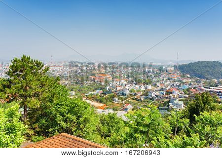 Roof Tiles Of House And A Beautiful View Of Da Lat City (dalat)