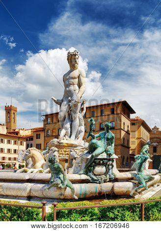 The Fountain Of Neptune On The Piazza Della Signoria, Florence