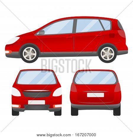 Red Car Vector Template. Isolated Family Vehicle Set On White Background. Vector Illustration With G
