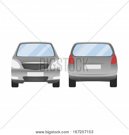 Grey Silver Car Vector Template. Isolated Family Vehicle Set On White Background. Vector Illustratio