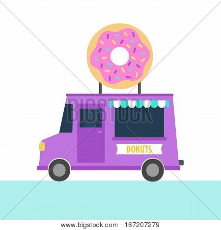 Truck with donuts. Vector hand drawn illustration