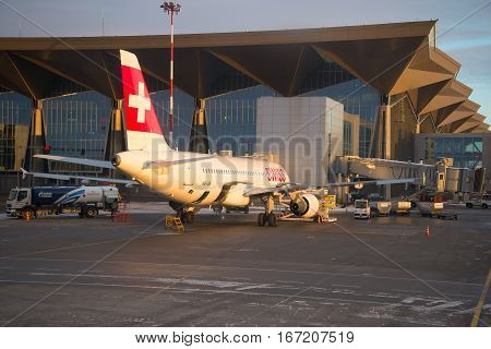 SAINT PETERSBURG, RUSSIA - JANUARY 07, 2017: Airbus A320 (HB-IJE) Swiss International Airlines at the new terminal building of Pulkovo airport